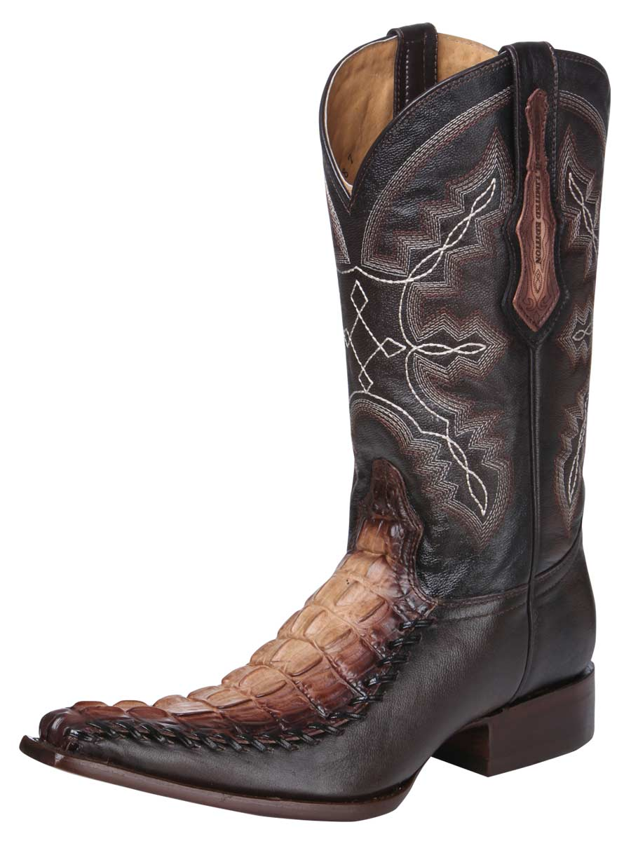 Caiman Tail Print Leather Western Boots 34369
