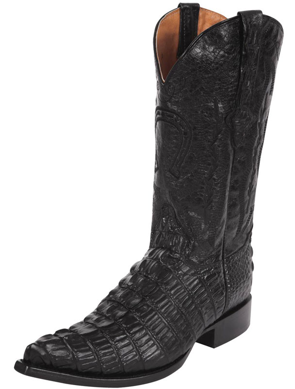 Caiman Tail Print Leather Western Boots 40352
