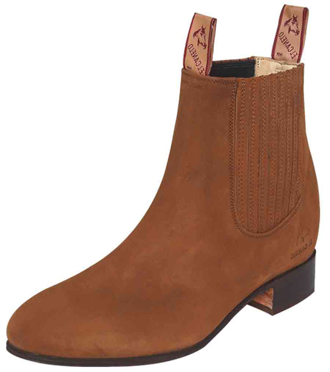 Mexican Charro Style Ankle Boots El Canelo 231 Nubuck Leather, Taupe Color