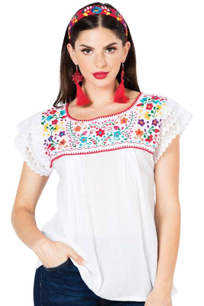 Blusa Típica Puebla Artesanal Mexicana 603096 Blanca