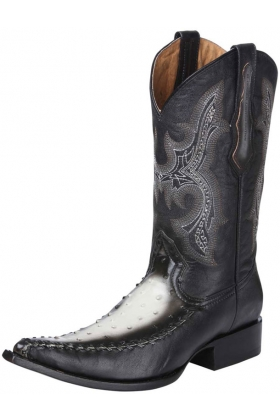Men's Ostrich Print Leather Western Boots 34376
