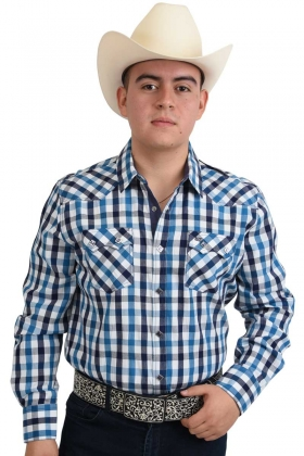 Camisa Vaquera Tradicional A Cuadros White Diamonds Western Wear 10-938 Color Azul / Blanco