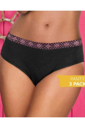 Panty Mía 60176 Blanco/Natural/Negro (3 Pack)