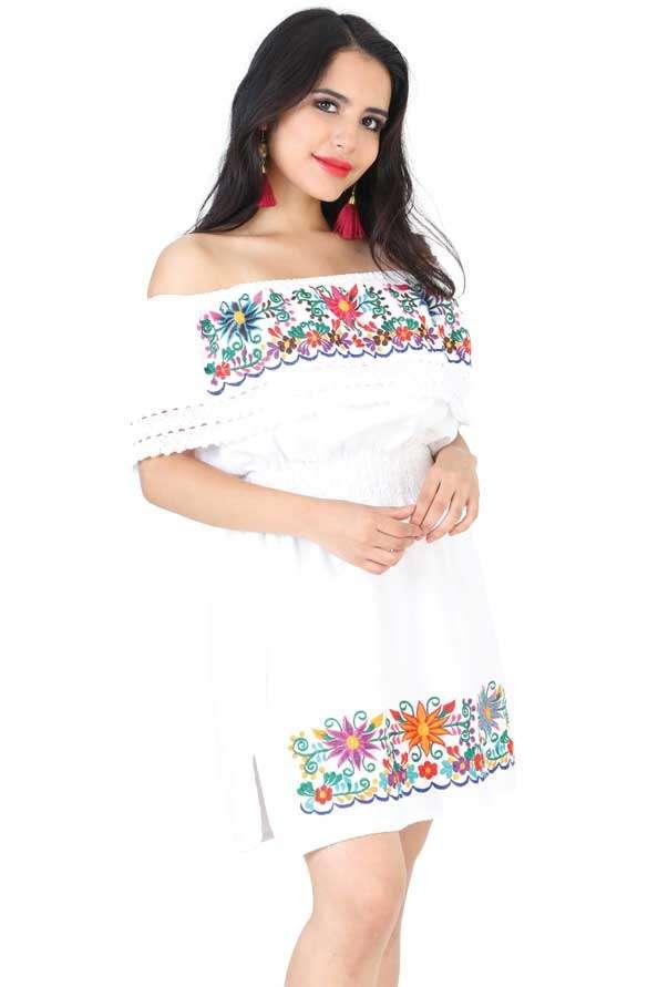 Vestido Bordado Juvenil Mini 602219 Color Blanco