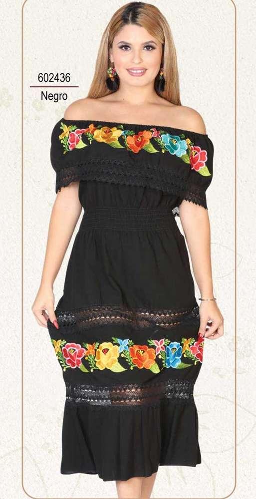 Vestido México Artesanal Folklore Bordado Beige 602435
