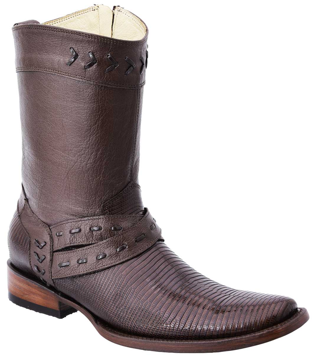 Men's Casual Boots Genuine Exotic Lizard Leather White Diamonds Boots 10-015 Brown