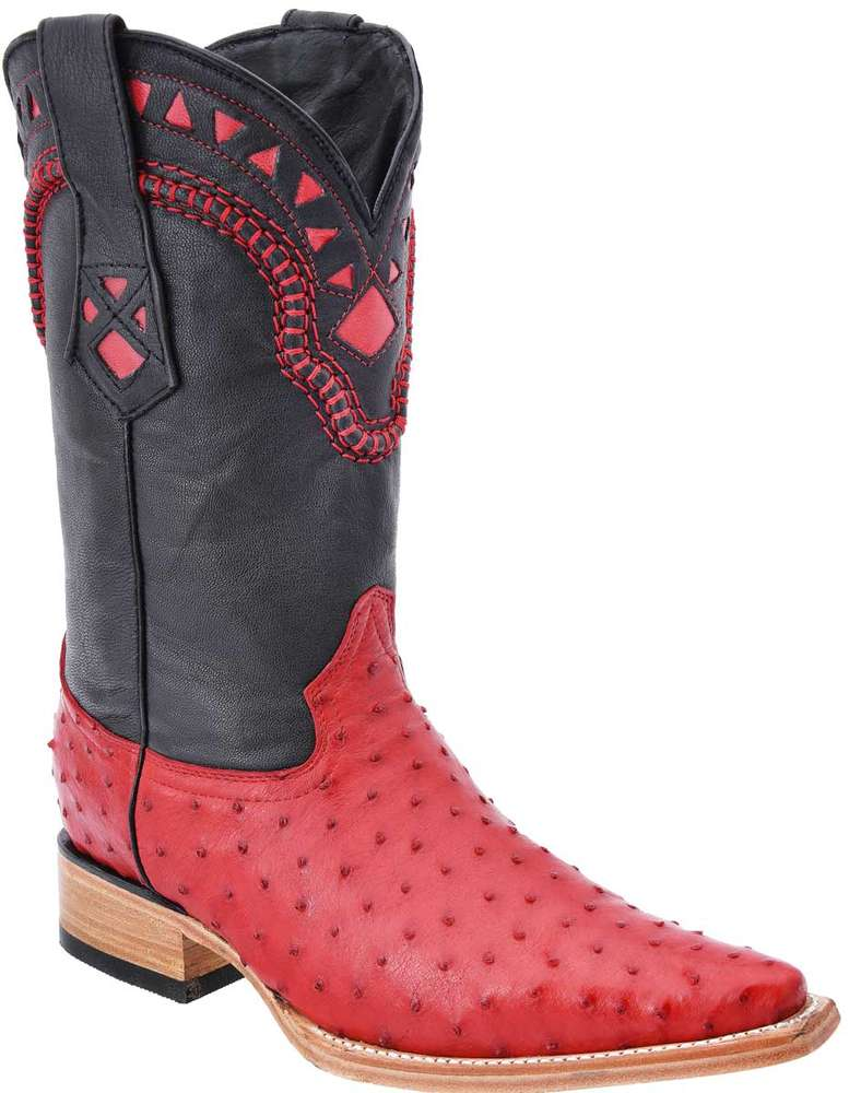 Cowboy Ostrich White Diamods Boots 024 Red