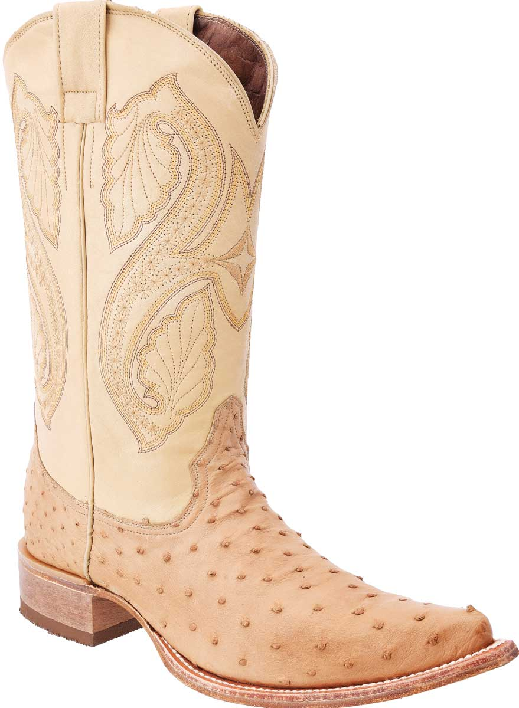 Bota vaquera piel avestruz, White diamonds boots 030 Orix.