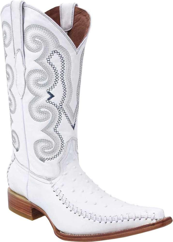 Piel Grabada Avestruz WD Boots 148 Blanco